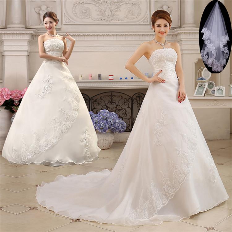 ウェディングドレス 結婚式 花嫁 二次会 ノースリーブ ドレス パーティードレス Aライン トレーン 2タイプ ベール付き
